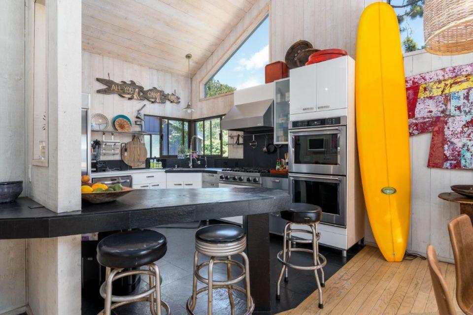 kitchen inside of surf legends malibu beach pad