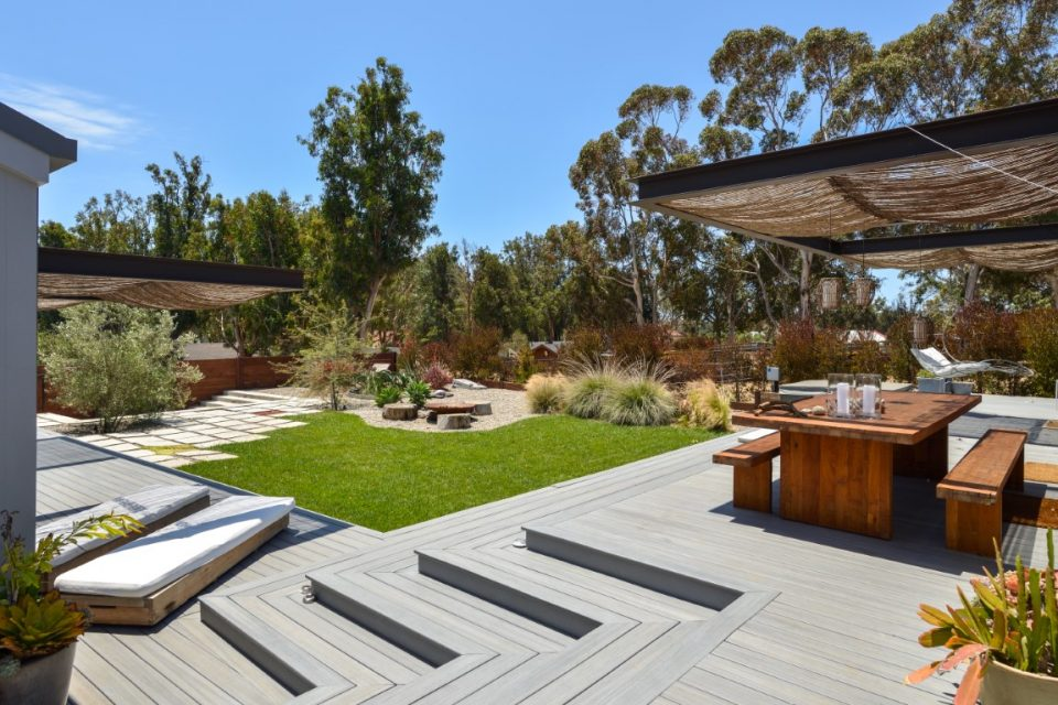 outdoor living space of surf legends malibu beach pad